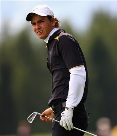 CRANS, SWITZERLAND - SEPTEMBER 05:  Moritz Lampert of Germany plays his second shot on the 12th hole during the second round of the Omega European Masters at Crans-Sur-Sierre Golf Club on September 5, 2008 in Crans Montana, Switzerland.  (Photo by Andrew Redington/Getty Images)