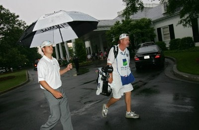 Zach Johnson heads to the clubhouse after play was suspended due to bad weather during the second round of the 2006 Wachovia Championship at the Quail Hollow Club in Charlotte, North Carolina on May 5, 2006.Photo by Kevin C.  Cox/WireImage.com