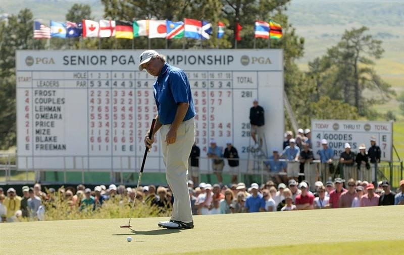 PARKER, CO. - MAY 30: Fred Couples misses his  putt for birdie on the 18th hole during the fourth and final round of the Senior PGA Championship at the Colorado Golf Club on May 30, 2010 in Parker, Colorado.  (Photo by Marc Feldman/Getty Images)