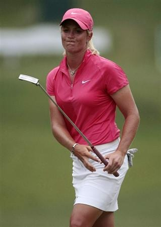 MOBILE, AL - MAY 15:  Suzann Pettersen of Norway reacts as her birdie attempt misses on the 18th hole during third round play in the Bell Micro LPGA Classic at the Magnolia Grove Golf Course on May 15, 2010 in Mobile, Alabama.  (Photo by Dave Martin/Getty Images)