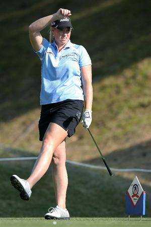SHIMA, JAPAN - NOVEMBER 06:  Brittany Lincicome of the United States reacts after playing a tee shot on the 9th hole during the round two of the Mizuno Classic at Kintetsu Kashikojima Country Club on November 6, 2010 in Shima, Mie, Japan.  (Photo by Kiyoshi Ota/Getty Images)