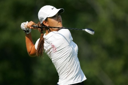 HAVRE DE GRACE, MD - JUNE 07:  Michelle Wie hits her tee shot on the par 4 9th hole during the first round of the McDonalds LPGA Championship at Bulle Rock golf course on June 7, 2007 in Havre de Grace, Maryland.  (Photo by Andy Lyons/Getty Images)