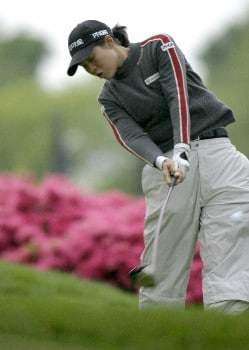 Aree Song tees off at the Sybase Classic Sunday at the Wykagyl Country Club in New Rochelle, NY.Photo by Patrick Tuohy/WireImage.com