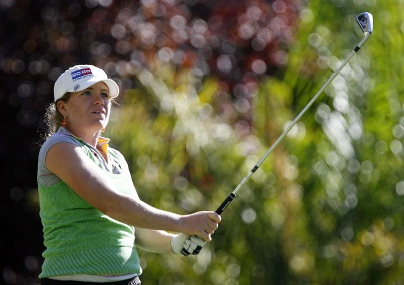 DANVILLE, CA - OCTOBER 10: Mikaela Parmlid of Sweden makes a tee shot on the 10th hole during the second round of the LPGA Longs Drugs Challenge at the Blackhawk Country Club October 10, 2008 in Danville, California. (Photo by Max Morse/Getty Images)