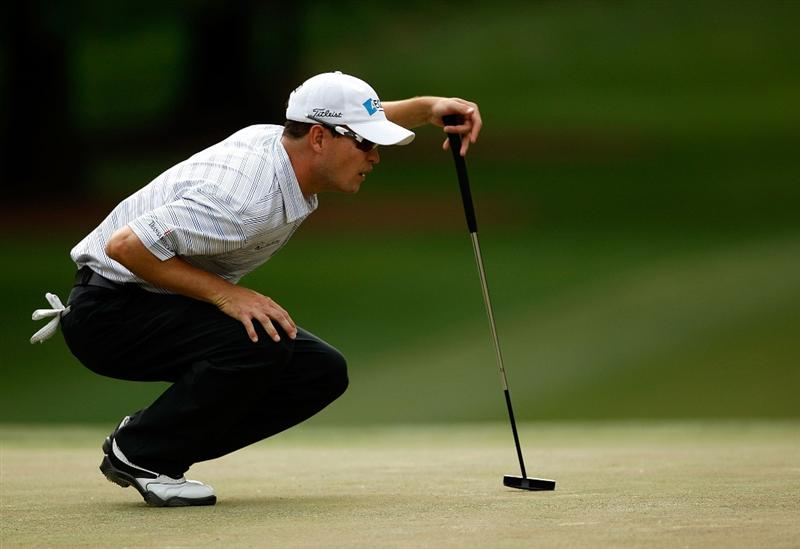 CHARLOTTE, NC - MAY 03:  Zach Johnson lines up a putt on the 12th hole during the third round of the Quail Hollow Championship at the Quail Hollow Club on May 2, 2009 in Charlotte, North Carolina.  (Photo by Streeter Lecka/Getty Images)