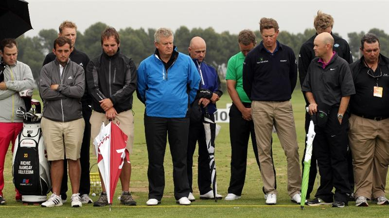 BARCELONA, SPAIN - MAY 07:  Colin Montgomerie of Scotland and various members of the European Tour at the minute silence held in memory of Seve Ballesteros during the third round of the Open de Espana at the the Real Club de Golf El Prat on May 7 , 2011 in Barcelona, Spain.  (Photo by Ross Kinnaird/Getty Images)