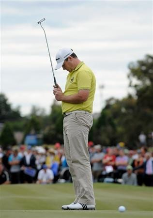 MELBOURNE, AUSTRALIA - NOVEMBER 30: Marcus Fraser of Australia looks dejected after missing a putt in the play off against Rod Pampling of Australia during the 2008 Australian Masters at Huntingdale Golf Club on November 30, 2008 in Melbourne, Australia  (Photo by Robert Cianflone/Getty Images)