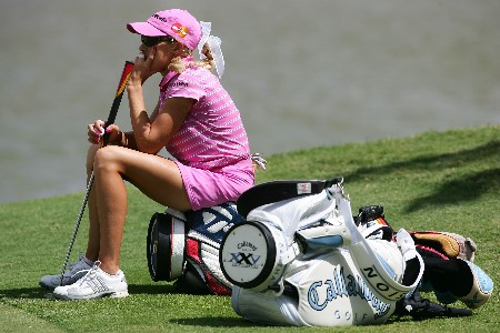 KAPOLEI, HI - FEBRUARY 22:  Natalie Gulbis has a seat while she waits to putt on the fifth hole during the first round of the Fields Open at Ko Olina Golf Club on February 22, 2007 in Kapolei, Hawaii.  (Photo by Harry How/Getty Images)