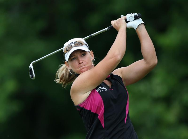 SPRINGFIELD, IL - JUNE 07:  Kristy McPherson hits a tee shot on the second hole during the fourth round of the LPGA State Farm Classic golf tournament at Panther Creek Country Club on June 7, 2009 in Springfield, Illinois.  (Photo by Christian Petersen/Getty Images)