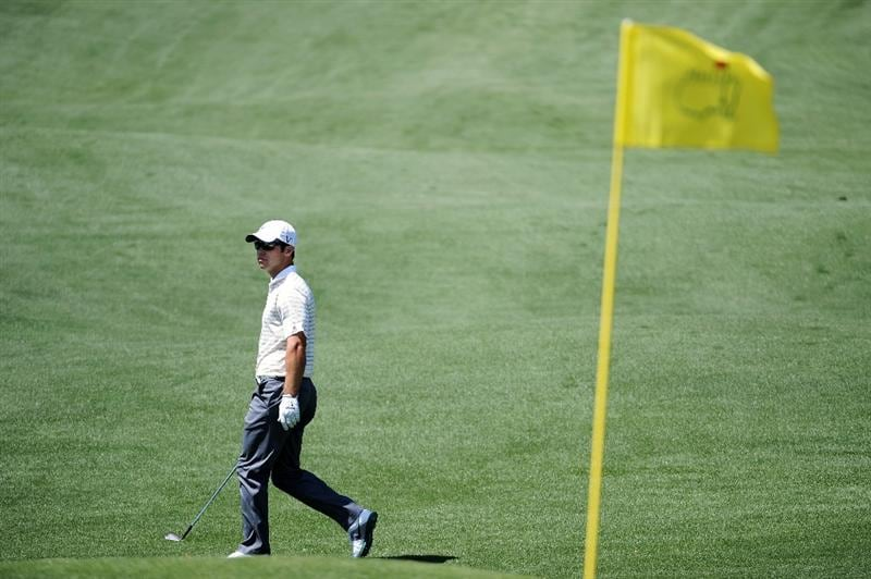 AUGUSTA, GA - APRIL 04:  Paul Casey of England waits to play a shot during a practice round prior to the 2011 Masters Tournament at Augusta National Golf Club on April 4, 2011 in Augusta, Georgia.  (Photo by Harry How/Getty Images)