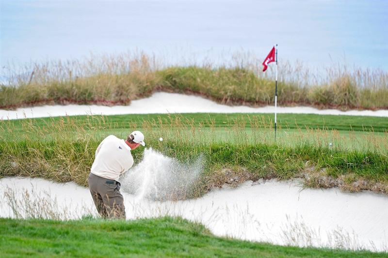 PEBBLE BEACH, CA - JUNE 18:  Ernie Els of South Africa plays a bunker shot on the tenth hole during the second round of the 110th U.S. Open at Pebble Beach Golf Links on June 18, 2010 in Pebble Beach, California.  (Photo by Harry How/Getty Images)
