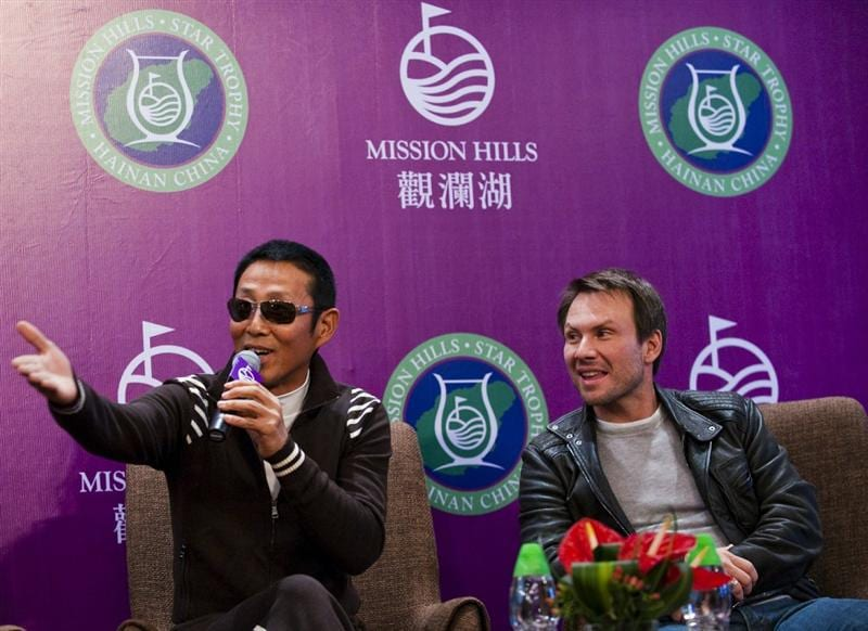 HAIKOU, CHINA - OCTOBER 27:  Chinese actor Chan Dao Ming and actor Christian Slater attend the opening  press conference of the Mission Hills Star Trophy on October 27, 2010 in Haikou, China. The Mission Hills Star Trophy is Asia's leading leisure liflestyle event and features Hollywood celebrities and international golf stars.  (Photo by Victor Fraile/Getty Images)