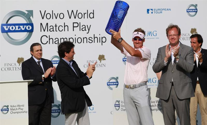 CASARES, SPAIN - MAY 22:  Ian Poulter of England lifts the trophy after winning the Volvo World Match Play Championship at Finca Cortesin on May 22, 2011 in Casares, Spain.  (Photo by Andrew Redington/Getty Images)