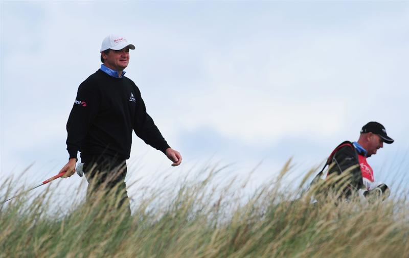 TURNBERRY, SCOTLAND - JULY 19:  Paul Lawrie of Scotland walks to a tee during the final round of the 138th Open Championship on the Ailsa Course, Turnberry Golf Club on July 19, 2009 in Turnberry, Scotland.  (Photo by Stuart Franklin/Getty Images)