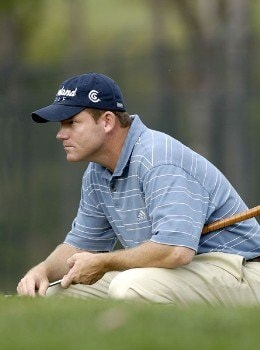 Shaun Micheel looks over a birdie putt on the fifth hole during the second round of the 2005 84 Lumber Classic on Friday, September 16, 2005 held at the Mystic Rock Golf Course/Nemacolin Woodlands Resort in Farmington, Pennsylvania.Photo by Marc Feldman/WireImage.com