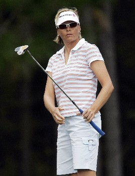 MOBILE, AL - NOVEMBER 10: Liselotte Neumann of Sweden watches her putt on the 2nd hole during third round play in The Mitchell Company LPGA Tournament of Champions at Magnolia Grove Golf Course on November 10, 2007 in Mobile, Alabama.  (Photo by Dave Martin/Getty Images)