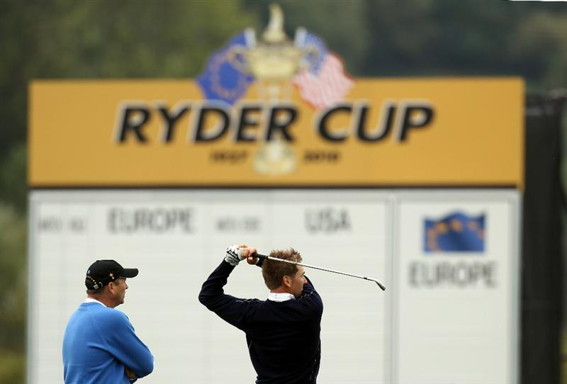 NEWPORT, WALES - SEPTEMBER 27:  Ian Poulter of Europe on the driving range during a practice session prior to the 2010 Ryder Cup at the Celtic Manor Resort on September 27, 2010 in Newport, Wales.  (Photo by Ross Kinnaird/Getty Images)