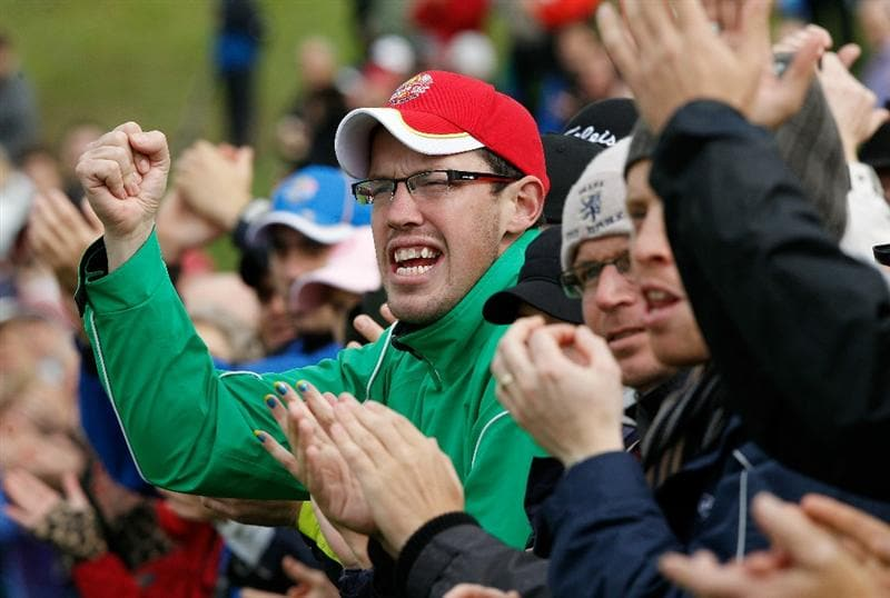 NEWPORT, WALES - OCTOBER 03:  Golf fans show their support during the  Fourball & Foursome Matches during the 2010 Ryder Cup at the Celtic Manor Resort on October 3, 2010 in Newport, Wales. (Photo by Sam Greenwood/Getty Images)