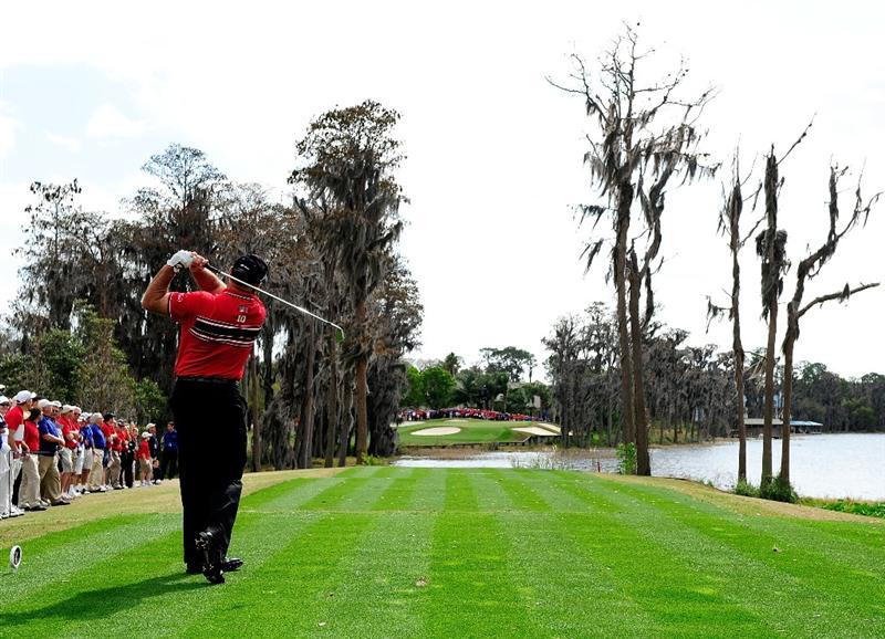ORLANDO, FL - MARCH 22:  Mark O'Meara plays a shot on the 2nd hole during the first day's play in the 2010 Tavistock Cup at Isleworth Golf and Country Club on March 22, 2010 in Orlando, Florida.  (Photo by Sam Greenwood/Getty Images)