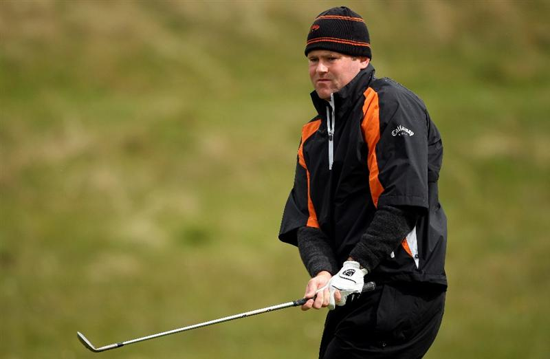 BALTRAY, IRELAND - MAY 16:  Alastair Forsyth of Scotland plays a chip shot on the sixth hole during the third round of The 3 Irish Open at County Louth Golf Club on May 16, 2009 in Baltray, Ireland.  (Photo by Andrew Redington/Getty Images)