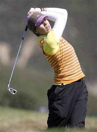 DANVILLE, CA - OCTOBER 10: Karine Icher of France makes a tee shot on the 16th hole during the second round of the LPGA Longs Drugs Challenge at the Blackhawk Country Club October 10, 2008 in Danville, California. (Photo by Max Morse/Getty Images)