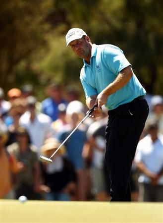 PERTH, AUSTRALIA - FEBRUARY 22:  John Bickerton of England putts during round four of the 2009 Johnnie Walker Classic at The Vines Resort and Country Club on February 22, 2009 in Perth, Australia.  (Photo by Ian Walton/Getty Images)