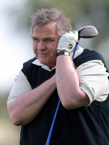 Meatloaf reacts to his shot on the 16th tee during the first round of the 49th Bob Hope Chrysler Classic at the Silverrock Resort on January 16, 2008 in La Quinta, California. PGA TOUR - 2008 Bob Hope Chrysler Classic - Round OnePhoto by Harry How/WireImage.com