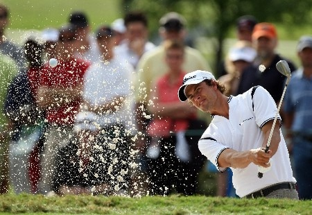 MIAMI - MARCH 23:  Adam Scott of Australia hits his second shot at the 13th hole during the completion of the third round of the 2008 World Golf Championships CA Championship at the Doral Golf Resort & Spa, on March 23, 2008 in Miami, Florida.  (Photo by David Cannon/Getty Images)