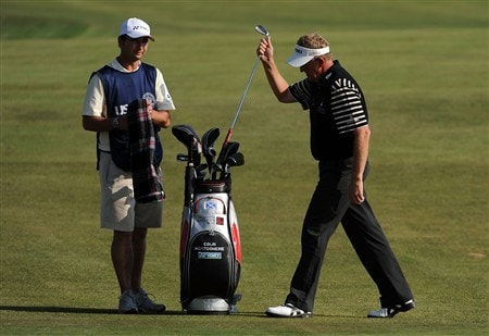 SAN DIEGO - JUNE 12:  Colin Montgomerie of Scotland reacts to a bogey on the fourth hole next to Jason Hempleman during the first round of the 108th U.S. Open at the Torrey Pines Golf Course (South Course) on June 12, 2008 in San Diego, California.  (Photo by Harry How/Getty Images)