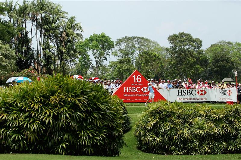SINGAPORE - FEBRUARY 27:  Karrie Webb of Australia hits her tee-shot on the 16th hole during the final round of the HSBC Women's Champions at the Tanah Merah Country Club on February 27, 2011 in Singapore.  (Photo by Andrew Redington/Getty Images)