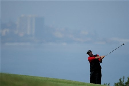 SAN DIEGO - JUNE 16:  Rocco Mediate hits his second shot on the fourth hole during the playoff round of the 108th U.S. Open at the Torrey Pines Golf Course (South Course) on June 16, 2008 in San Diego, California.  (Photo by Doug Pensinger/Getty Images)