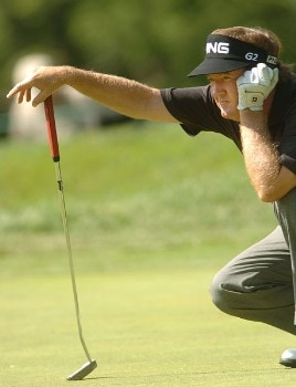 Bob Gilder lines up a putt on the fourth green during the first round of the 2005 U.S. Senior Open Championship at NCR Country Club, July 28, 2005 in Kettering, Ohio.Photo by Steve Grayson/WireImage.com