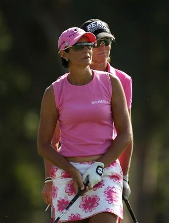 RANCHO MIRAGE, CA - APRIL 02:  Laura Diaz (front) and Helen Alfredsson of Sweden watch Diaz' tee shot on the sixth hole during the first round of the Kraft Nabisco Championship at Mission Hills Country Club on April 2, 2009 in Rancho Mirage, California.  (Photo by Stephen Dunn/Getty Images)