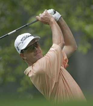 Stephen Leaney during the second practice round of the 2005 PGA Championship at Baltusrol Golf Club in Springfield, New Jersey on August 9, 2005.Photo by Christopher Condon/WireImage.com