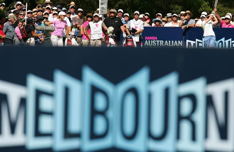 MELBOURNE, AUSTRALIA - MARCH 14:  Karrie Webb of Australia tees off on the 9th hole during the final round of the 2010 Women's Australian Open at The Commonwealth Golf Club on March 14, 2010 in Melbourne, Australia.  (Photo by Scott Barbour/Getty Images)