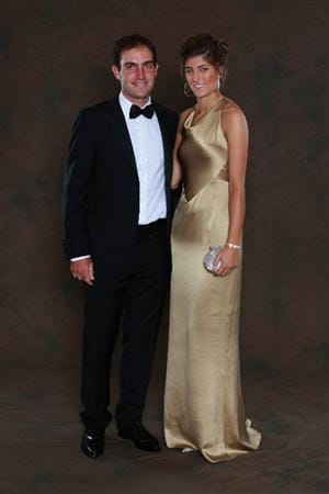 NEWPORT, WALES - SEPTEMBER 29:  Edoardo Molinari of the European Ryder Cup team poses with his partner Anna Roscio prior to the 2010 Ryder Cup Dinner at the Celtic Manor Resort on September 29, 2010 in Newport, Wales.  (Photo by David Cannon/Getty Images)