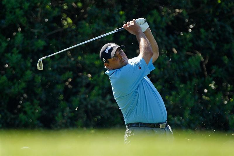 CHARLOTTE, NC - APRIL 30:  Angel Cabrera of Argentina watches his tee shot on the 13th hole during the second round of the 2010 Quail Hollow Championship at the Quail Hollow Club on April 30, 2010 in Charlotte, North Carolina.  (Photo by Scott Halleran/Getty Images)