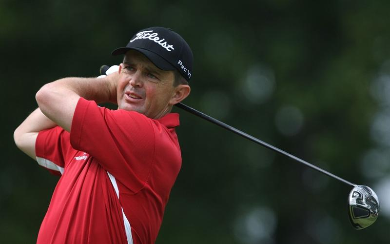 MILWAUKEE - JULY 18: Greg Chalmers of Australia  tees off on the 10th hole during the third round of the U.S. Bank Championship on July 18, 2009 at the Brown Deer Park golf course in Milwaukee, Wisconsin. (Photo by Jonathan Daniel/Getty Images)