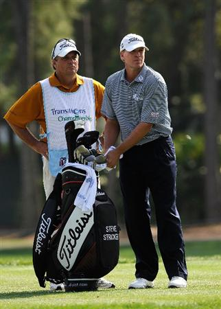 PALM HARBOR, FL - MARCH 22:  Steve Stricker looks over a shot on the 17th hole during the final round of the Transitions Championship at the Innisbrook Resort and Golf Club on March 22, 2009 in Palm Harbor, Florida.  (Photo by Sam Greenwood/Getty Images)