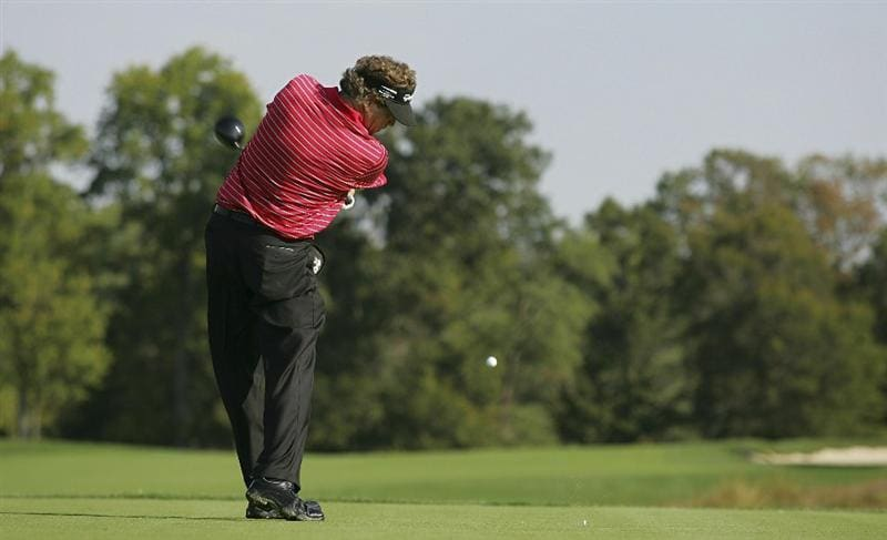 POTOMAC, MD - OCTOBER 07:  Michael Allen hits his drive on the second tee box during the first round of the Constellation Energy Senior Players Championship held at TPC Potomac at Avenel Farm on October 7, 2010 in Potomac, Maryland.  (Photo by Michael Cohen/Getty Images)