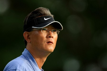 EDINA, MN - JUNE 25:  B.J. Wie, father of Michelle Wie, looks on during a practice round prior to the 2008 U.S. Women's Open at Interlachen Country Club on June 25, 2008 in Edina, Minnesota.  (Photo by Travis Lindquist/Getty Images)