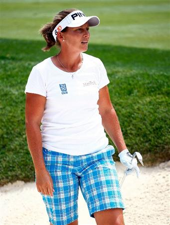 BETHLEHEM, PA - JULY 08:  Angela Stanford watches a shot during a practice round prior to the start of thw 2009 U.S. Women's Open at the Saucon Valley Country Club on July 8, 2009 in Bethlehem, Pennsylvania.  (Photo by Scott Halleran/Getty Images)