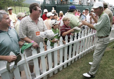 Ben Crenshaw signs autographs for fans after the second round of the Regions Charity Classic held at Robert Trent Jones Golf Trail at Ross Bridge in Birmingham, AL, on May 6, 2006.Photo by: Stan Badz/PGA TOUR