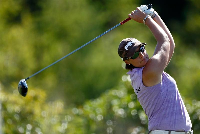 DANVILLE, CA - SEPTEMBER 26:  Maria Hjorth of Sweden tees off on the 3rd hole during the third round of the CVS/pharmacy LPGA Challenge at Blackhawk Country Club on September 26, 2009 in Danville, California.  (Photo by Jonathan Ferrey/Getty Images)