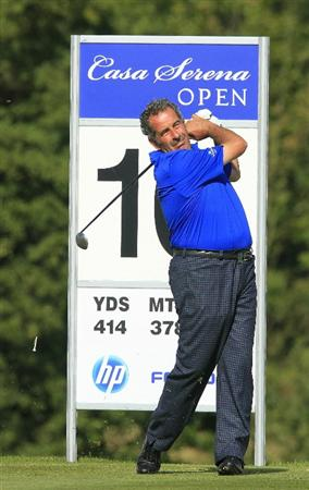 KUTNA HORA, CZECH REPUBLIC - SEPTEMBER 18:  Sam Torrance of Scotland drives from the tee on the 10th hole during the second round of the Casa Serena Open played at Casa Serena Golf on September 18, 2010 in Kutna Hora, Czech Republic.  (Photo by Phil Inglis/Getty Images)