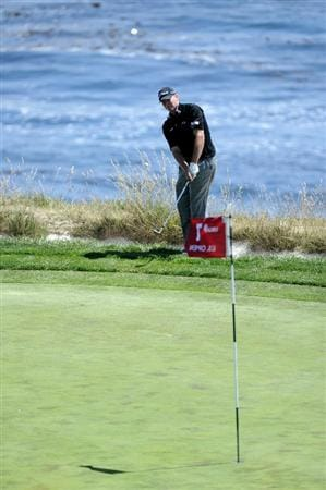 PEBBLE BEACH, CA - JUNE 17:  Steve Stricker hits a pitch shot on the seventh hole during the first round of the 110th U.S. Open at Pebble Beach Golf Links on June 17, 2010 in Pebble Beach, California.  (Photo by Harry How/Getty Images)