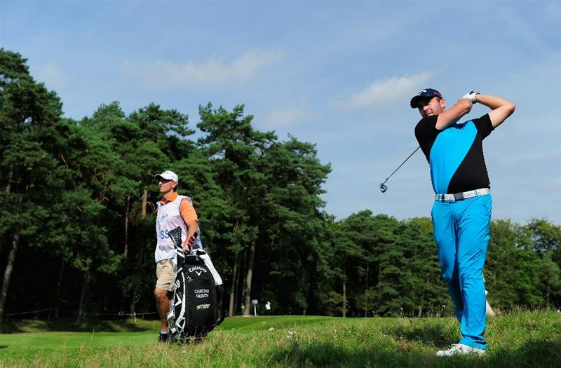 HILVERSUM, NETHERLANDS - SEPTEMBER 11:  Christian Nilsson of Sweden plays his approach shot on the fourth hole during the third round of  The KLM Open Golf at The Hillversumsche Golf Club on September 11, 2010 in Hilversum, Netherlands.  (Photo by Stuart Franklin/Getty Images)