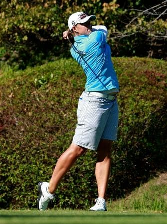 SHIMA, JAPAN - NOVEMBER 05:  Katherine Hull of Australia plays a shot on the 5th hole during round one of the Mizuno Classic at Kintetsu Kashikojima Country Club on November 5, 2010 in Shima, Japan.  (Photo by Chung Sung-Jun/Getty Images)