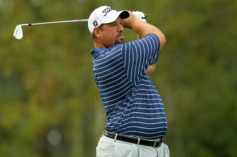 NORTON, MA - SEPTEMBER 03:  Brendon de Jonge of Zimbabwe hits a shot on the 10th hole during the first round of the Deutsche Bank Championship at TPC Boston on September 3, 2010 in Norton, Massachusetts.  (Photo by Mike Ehrmann/Getty Images)