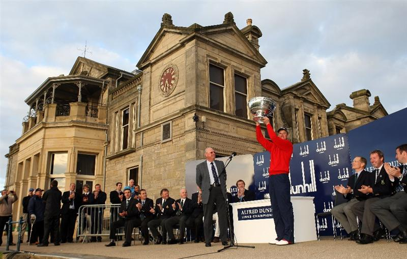 ST. ANDREWS, UNITED KINGDOM - OCTOBER 05:  :  5: Robert Karlsson of Sweden is presented with the trophy by Sir Michael Bonallack after victory in The Alfred Dunhill Links Championship at The Old Course on October 5, 2008 in St.Andrews, Scotland.  (Photo by Warren Little/Getty Images)